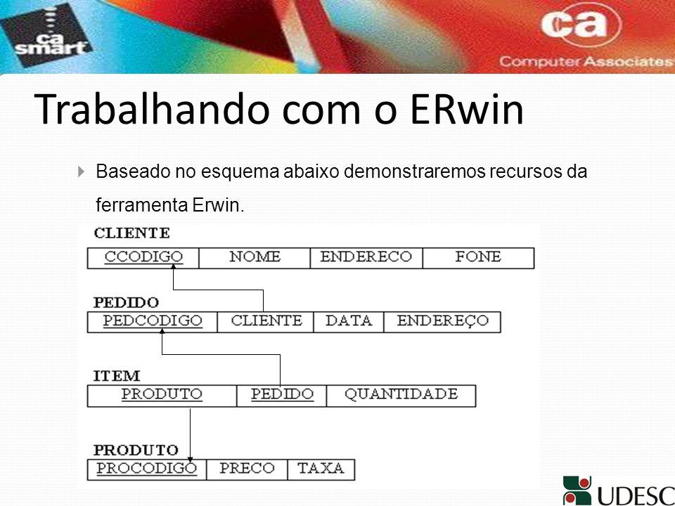 Trabalhando com o ERwin Baseado no esquema abaixo demonstraremos recursos da ferramenta Erwin.
