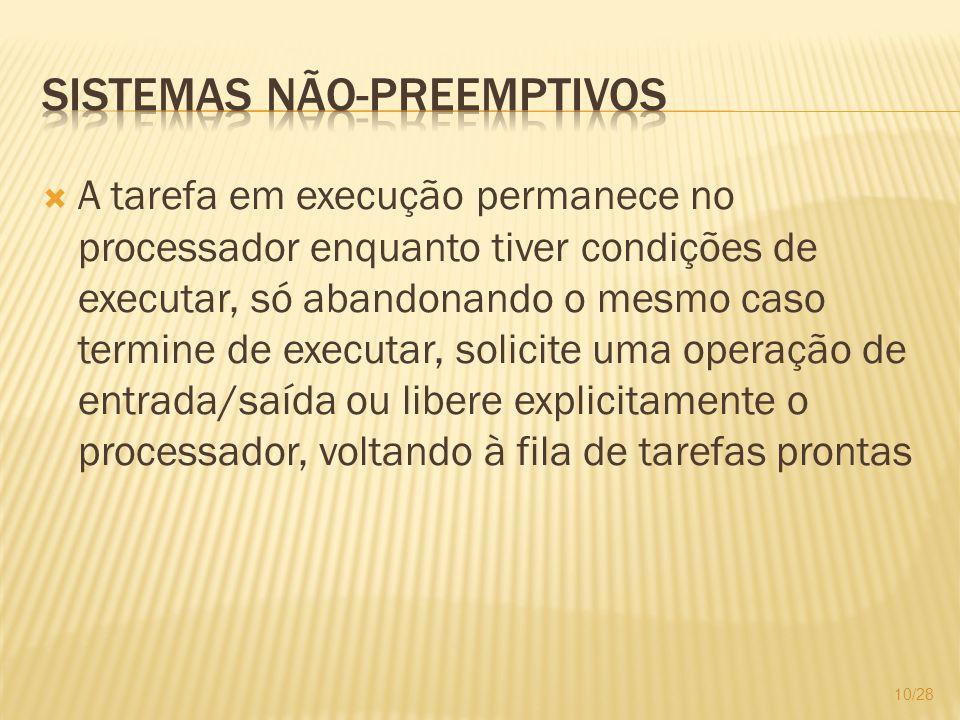 A tarefa em execução permanece no processador enquanto tiver condições de executar, só abandonando o mesmo caso termine de executar, solicite uma oper