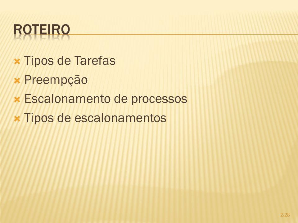 Tipos de Tarefas Preempção Escalonamento de processos Tipos de escalonamentos 2/28