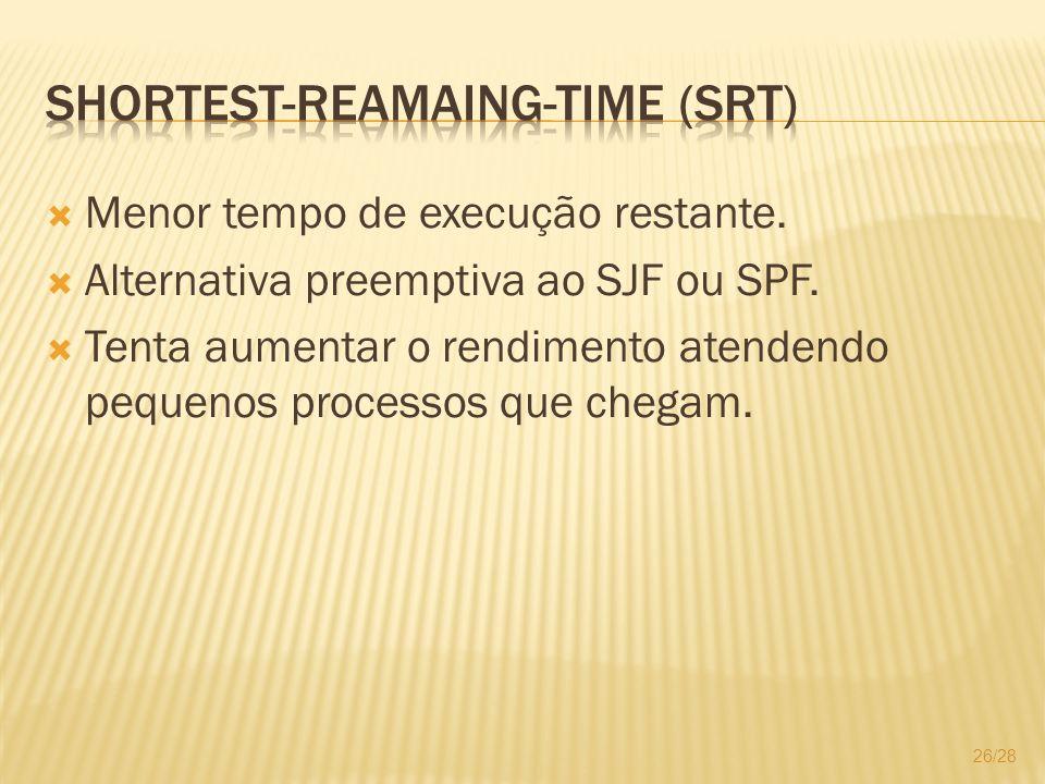 Menor tempo de execução restante. Alternativa preemptiva ao SJF ou SPF. Tenta aumentar o rendimento atendendo pequenos processos que chegam. 26/28