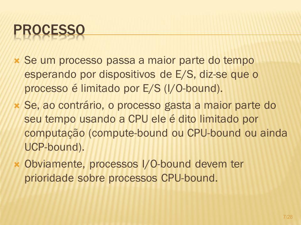Se um processo passa a maior parte do tempo esperando por dispositivos de E/S, diz-se que o processo é limitado por E/S (I/O-bound). Se, ao contrário,