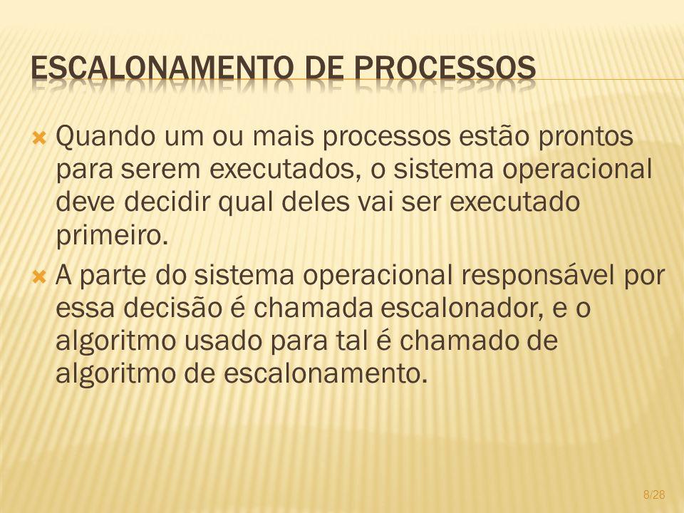 Quando um ou mais processos estão prontos para serem executados, o sistema operacional deve decidir qual deles vai ser executado primeiro. A parte do