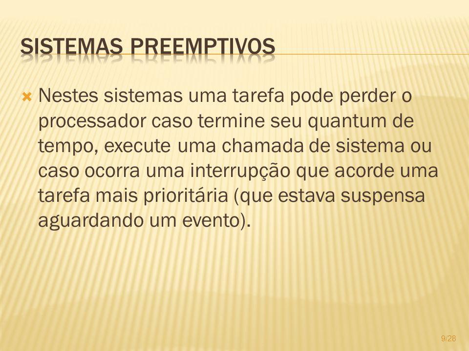 Nestes sistemas uma tarefa pode perder o processador caso termine seu quantum de tempo, execute uma chamada de sistema ou caso ocorra uma interrupção