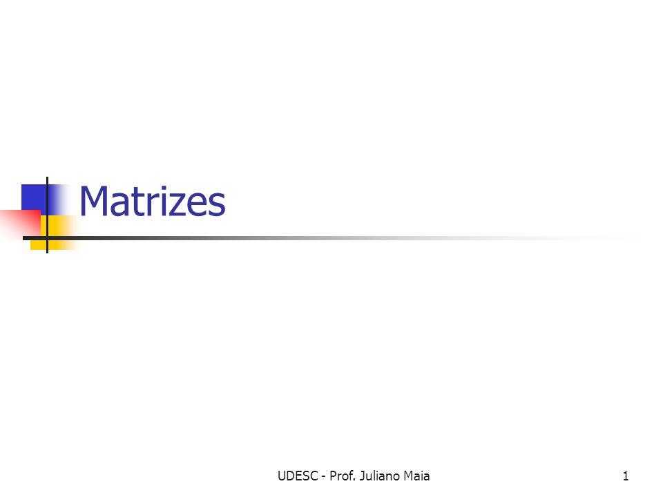 UDESC - Prof. Juliano Maia1 Matrizes