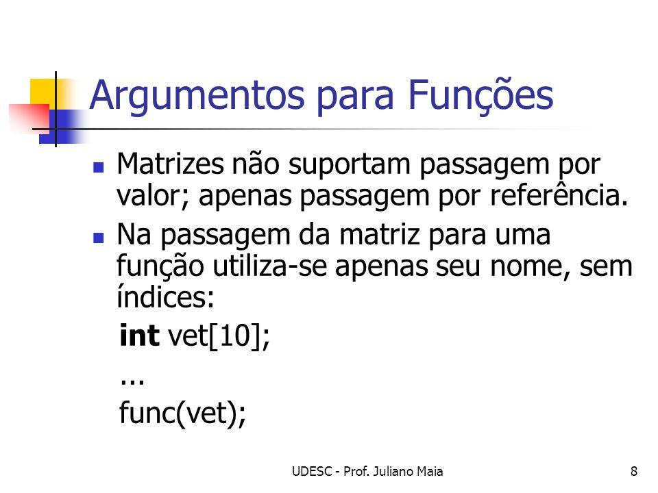 UDESC - Prof. Juliano Maia8 Argumentos para Funções Matrizes não suportam passagem por valor; apenas passagem por referência. Na passagem da matriz pa
