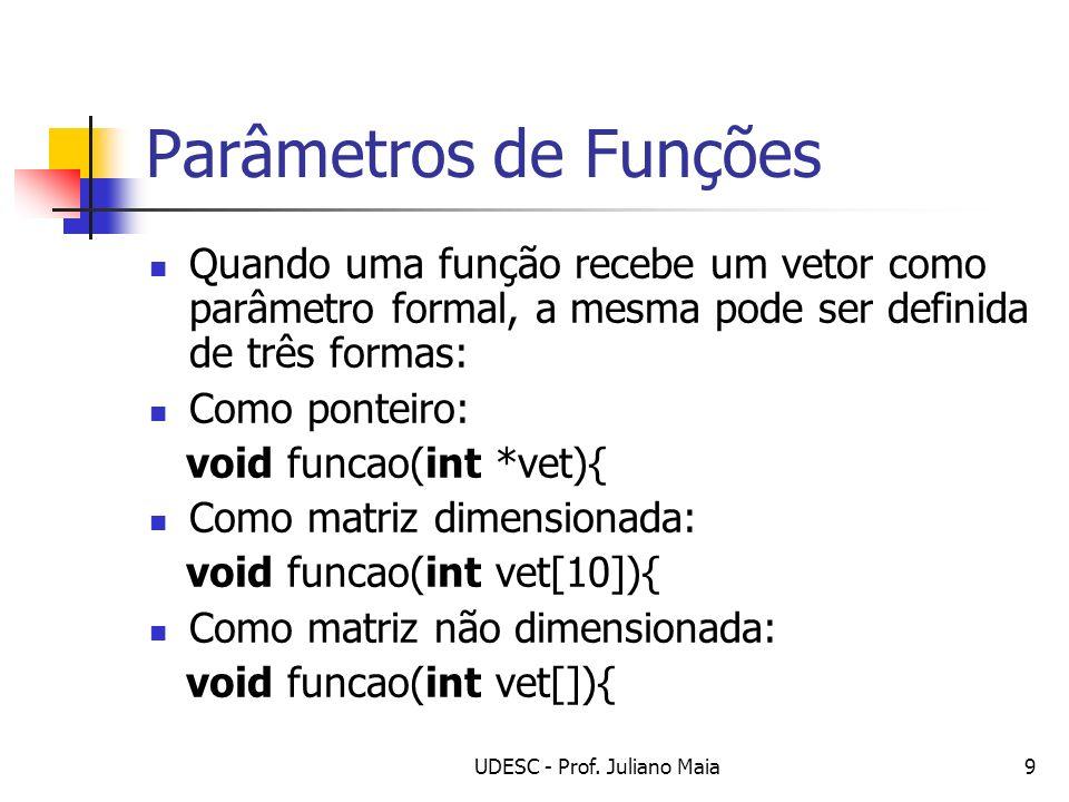 UDESC - Prof. Juliano Maia9 Parâmetros de Funções Quando uma função recebe um vetor como parâmetro formal, a mesma pode ser definida de três formas: C
