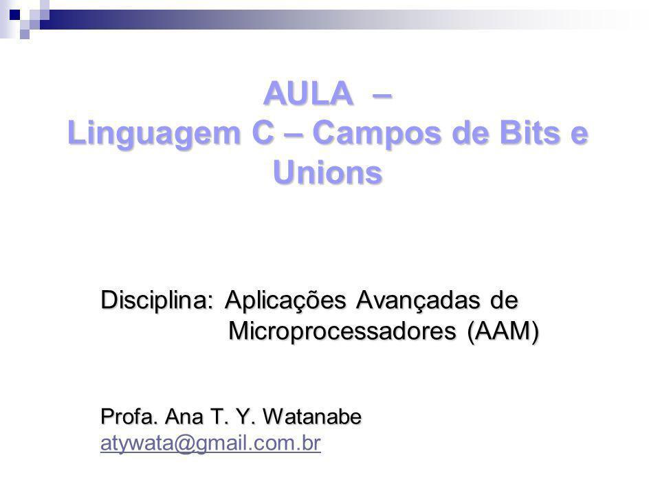 AULA – Linguagem C – Campos de Bits e Unions Disciplina: Aplicações Avançadas de Microprocessadores (AAM) Microprocessadores (AAM) Profa. Ana T. Y. Wa