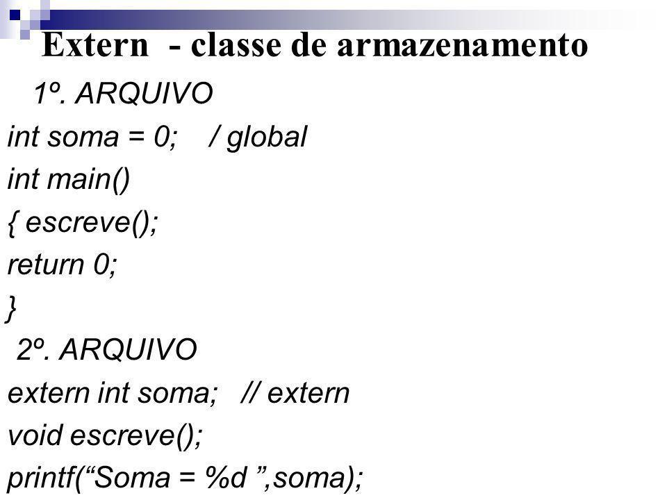 Extern - classe de armazenamento 1º. ARQUIVO int soma = 0; / global int main() { escreve(); return 0; } 2º. ARQUIVO extern int soma; // extern void es