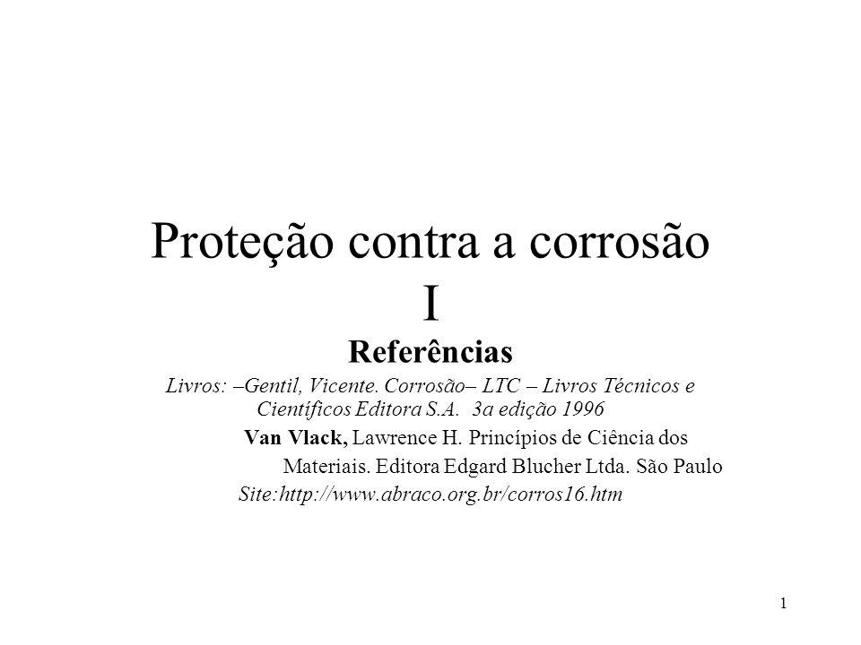 1 Proteção contra a corrosão I Referências Livros: –Gentil, Vicente.