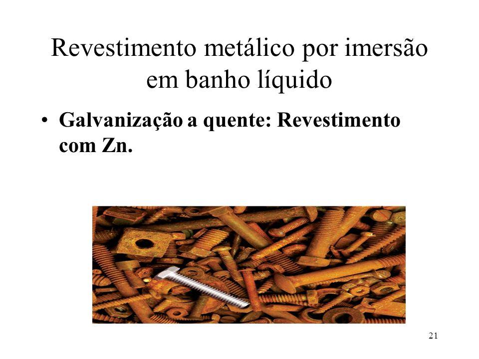 21 Revestimento metálico por imersão em banho líquido Galvanização a quente: Revestimento com Zn.