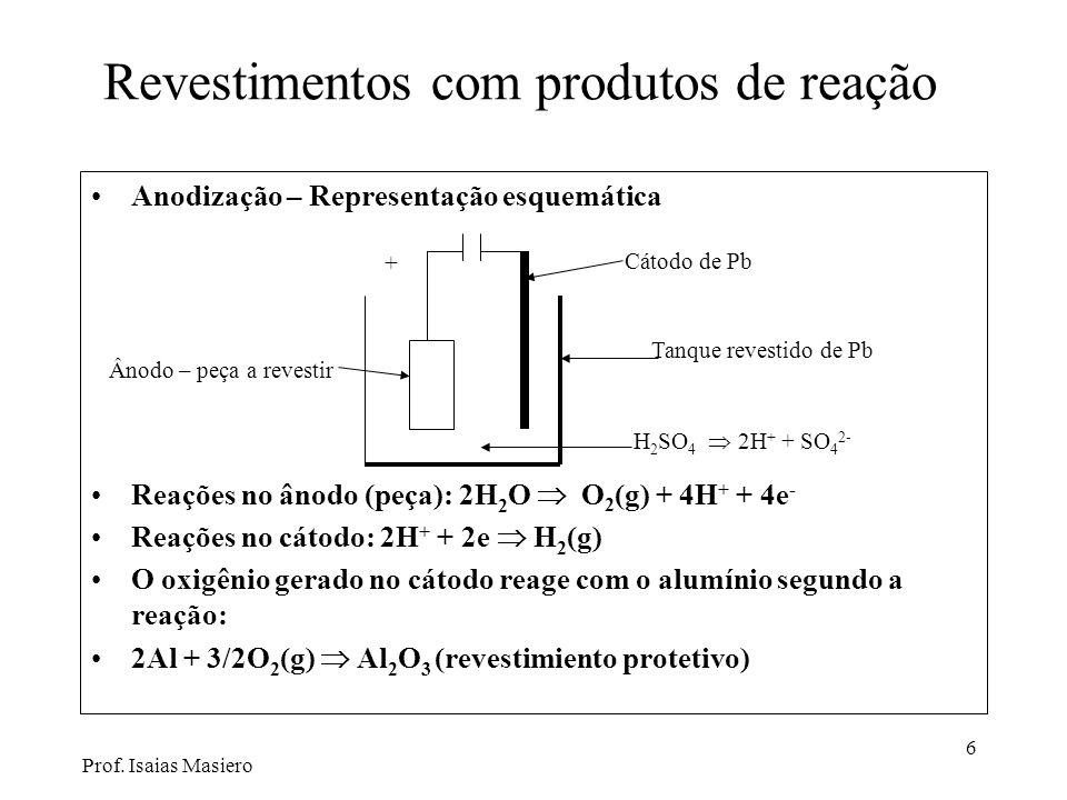 6 Revestimentos com produtos de reação Anodização – Representação esquemática Reações no ânodo (peça): 2H 2 O O 2 (g) + 4H + + 4e - Reações no cátodo: 2H + + 2e H 2 (g) O oxigênio gerado no cátodo reage com o alumínio segundo a reação: 2Al + 3/2O 2 (g) Al 2 O 3 (revestimiento protetivo) Cátodo de Pb H 2 SO 4 2H + + SO 4 2- Tanque revestido de Pb + Ânodo – peça a revestir Prof.