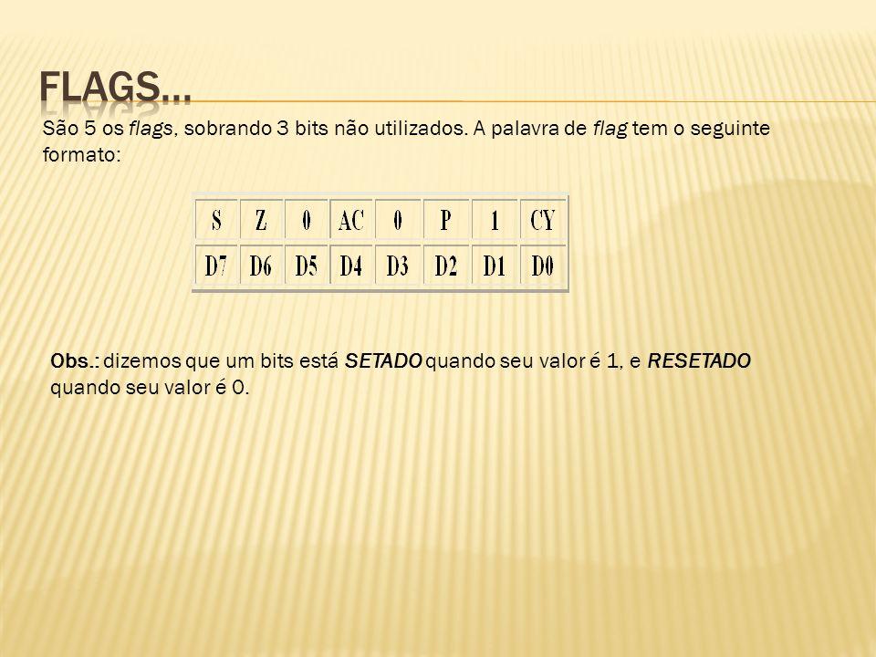 Z (zero flag ou indicador de zero) - é setado como 1, se todos os bits do ACC como resultado de uma operação são 0.