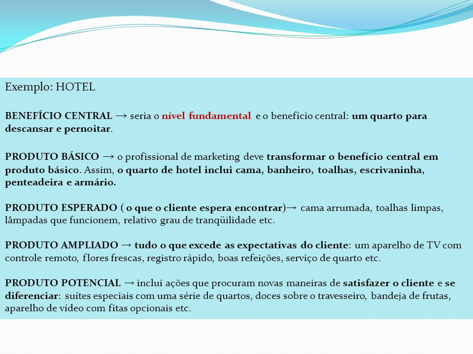 Exemplo: HOTEL BENEFÍCIO CENTRAL seria o nível fundamental e o benefício central: um quarto para descansar e pernoitar. PRODUTO BÁSICO o profissional