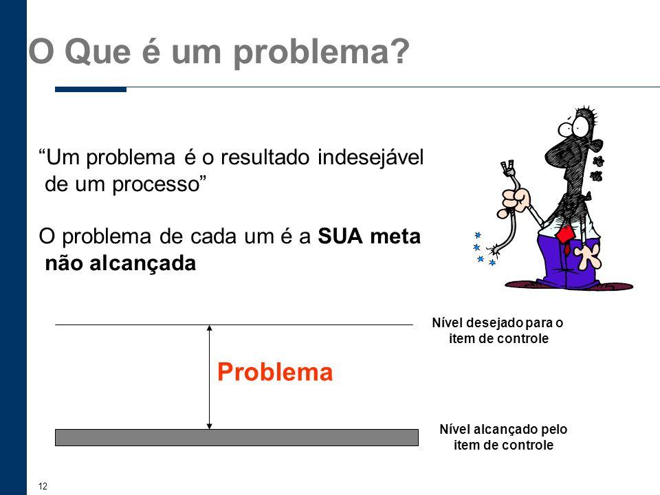 12 O Que é um problema? Um problema é o resultado indesejável de um processo O problema de cada um é a SUA meta não alcançada Problema Nível desejado