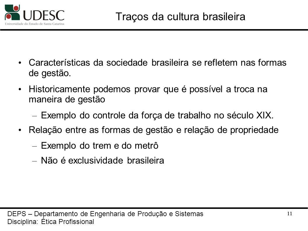 11 Traços da cultura brasileira Características da sociedade brasileira se refletem nas formas de gestão. Historicamente podemos provar que é possível