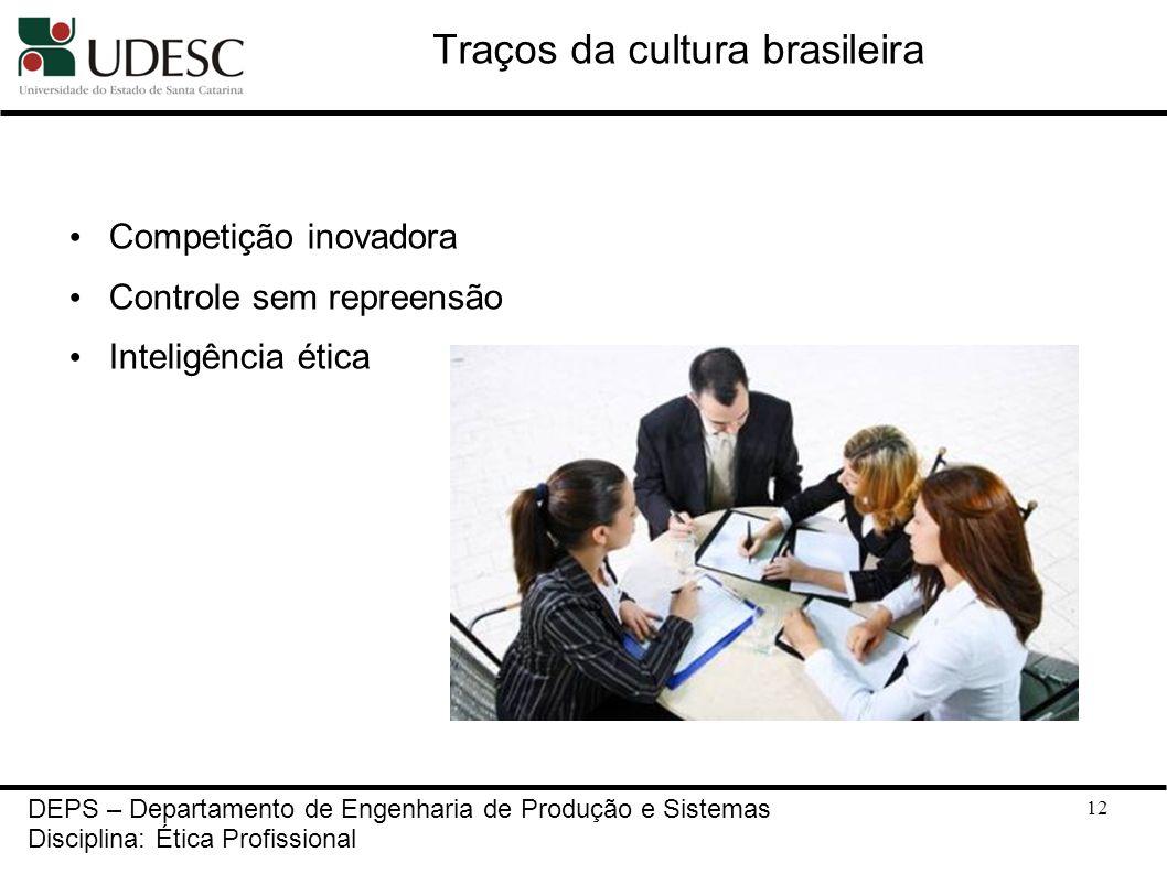 12 Traços da cultura brasileira Competição inovadora Controle sem repreensão Inteligência ética DEPS – Departamento de Engenharia de Produção e Sistem