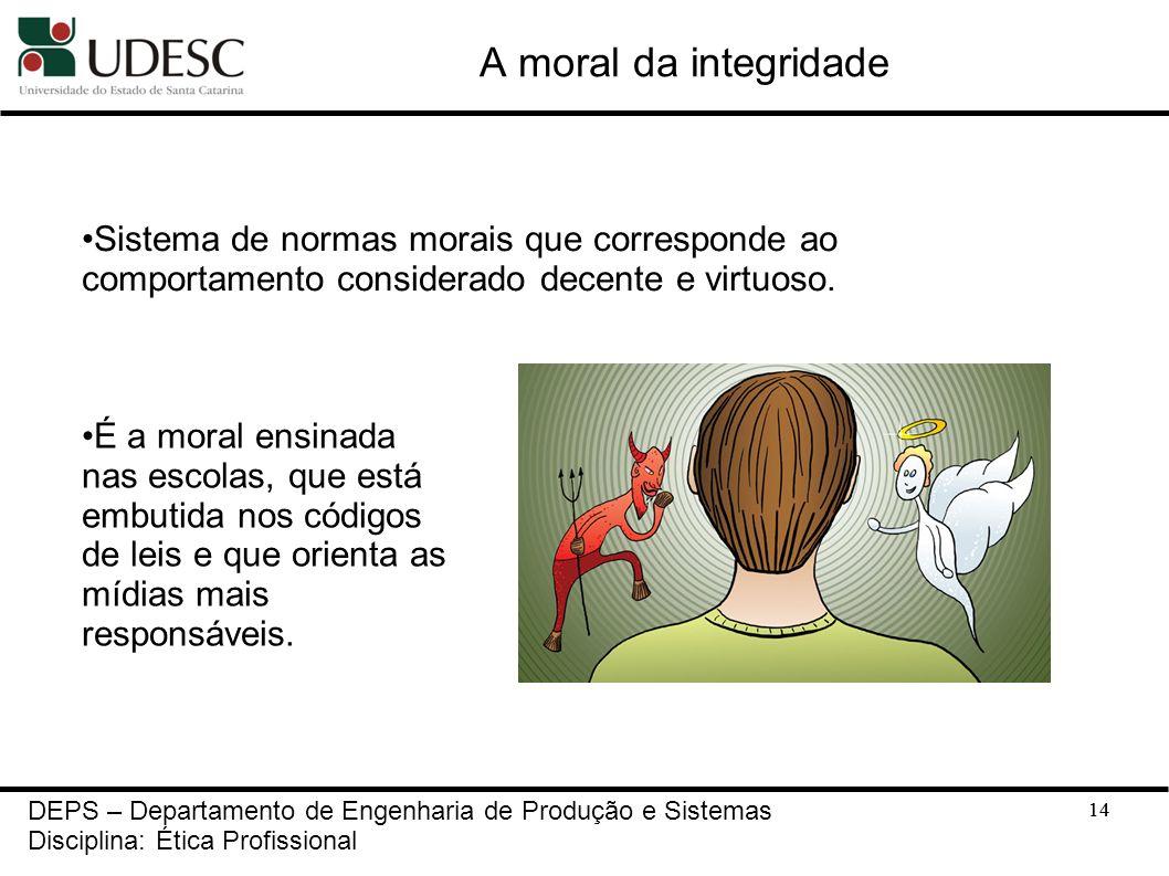 14 A moral da integridade 14 DEPS – Departamento de Engenharia de Produção e Sistemas Disciplina: Ética Profissional Sistema de normas morais que corr