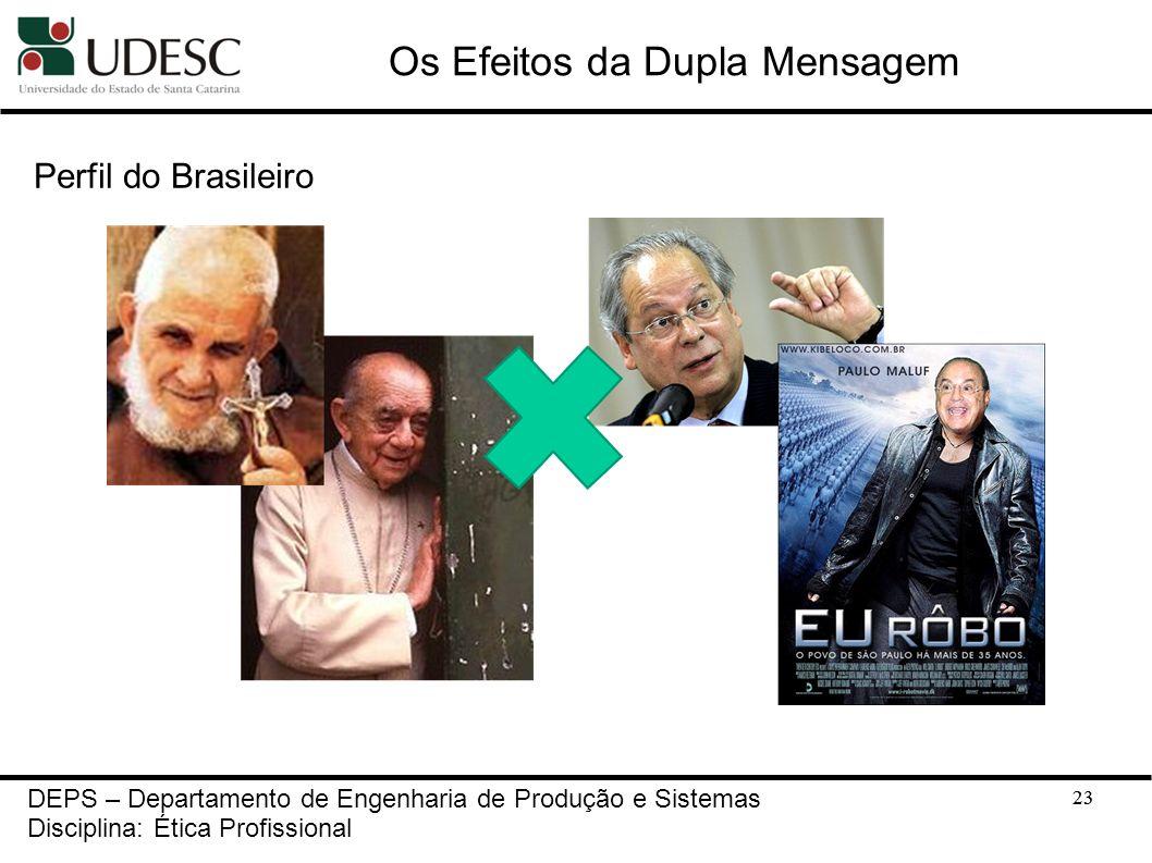 23 Os Efeitos da Dupla Mensagem Perfil do Brasileiro 23 DEPS – Departamento de Engenharia de Produção e Sistemas Disciplina: Ética Profissional