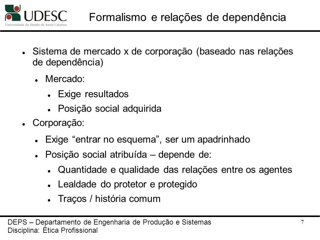 7 Formalismo e relações de dependência Sistema de mercado x de corporação (baseado nas relações de dependência) Mercado: Exige resultados Posição soci