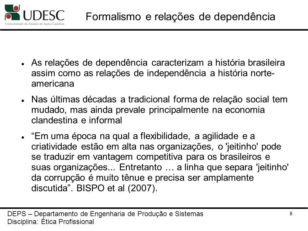 8 Formalismo e relações de dependência As relações de dependência caracterizam a história brasileira assim como as relações de independência a históri