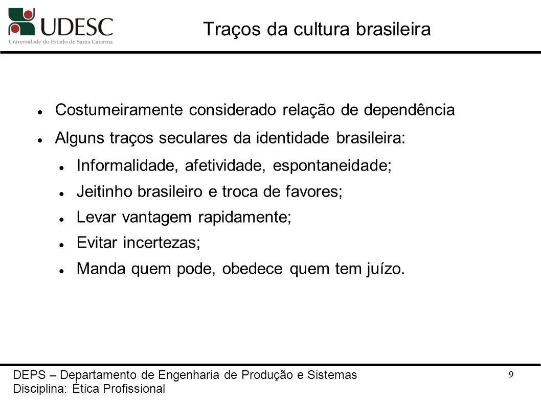 9 Traços da cultura brasileira Costumeiramente considerado relação de dependência Alguns traços seculares da identidade brasileira: Informalidade, afe