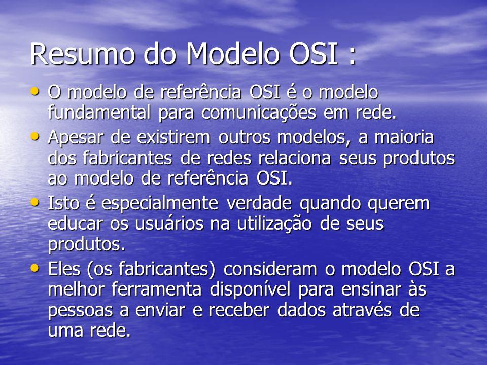 Resumo do Modelo OSI : O modelo de referência OSI é o modelo fundamental para comunicações em rede. O modelo de referência OSI é o modelo fundamental