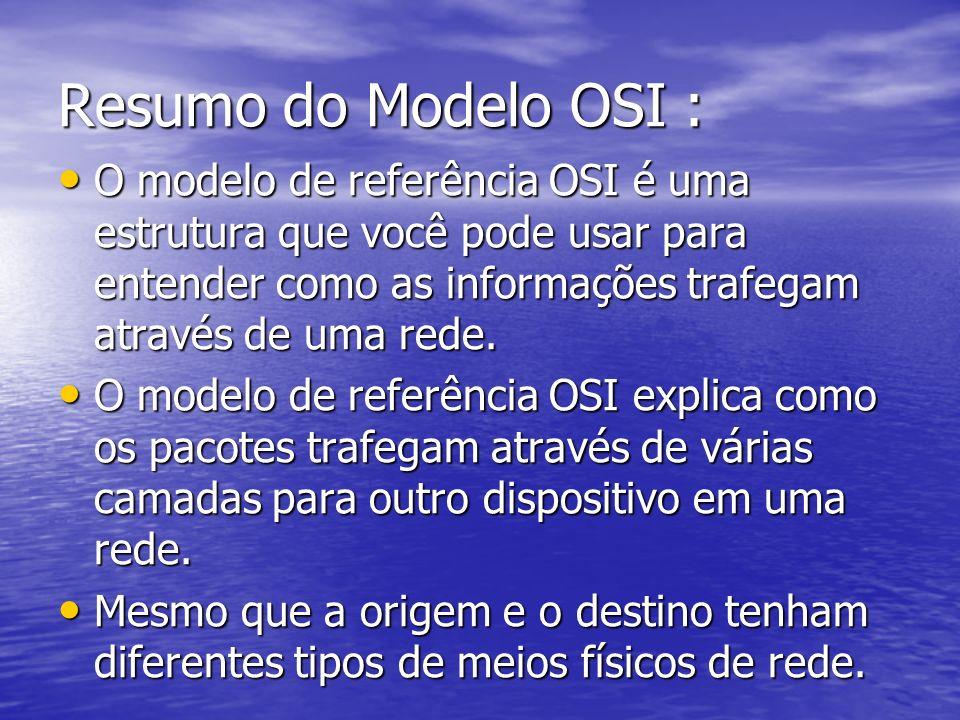Resumo do Modelo OSI : O modelo de referência OSI é uma estrutura que você pode usar para entender como as informações trafegam através de uma rede. O