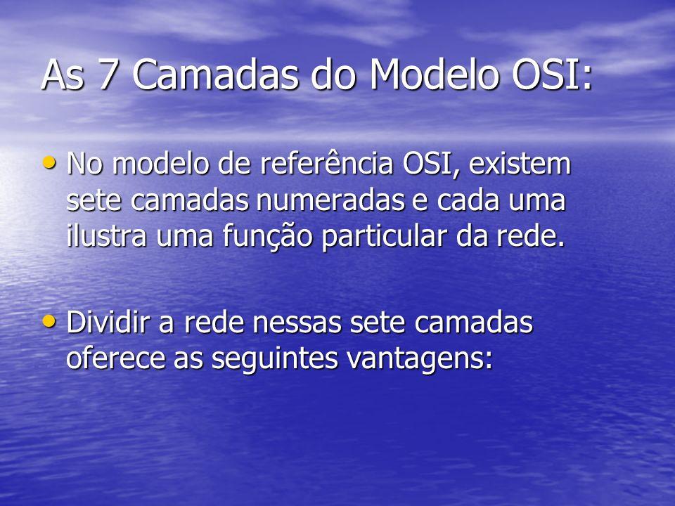 As 7 Camadas do Modelo OSI: No modelo de referência OSI, existem sete camadas numeradas e cada uma ilustra uma função particular da rede. No modelo de