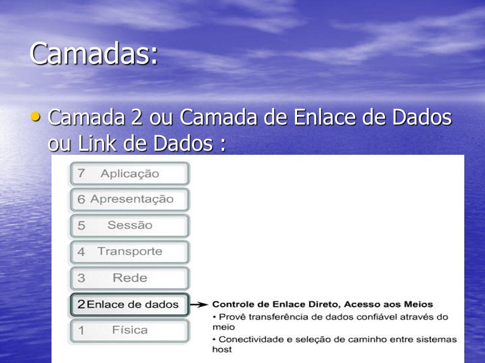 Camadas: Camada 2 ou Camada de Enlace de Dados ou Link de Dados : Camada 2 ou Camada de Enlace de Dados ou Link de Dados :