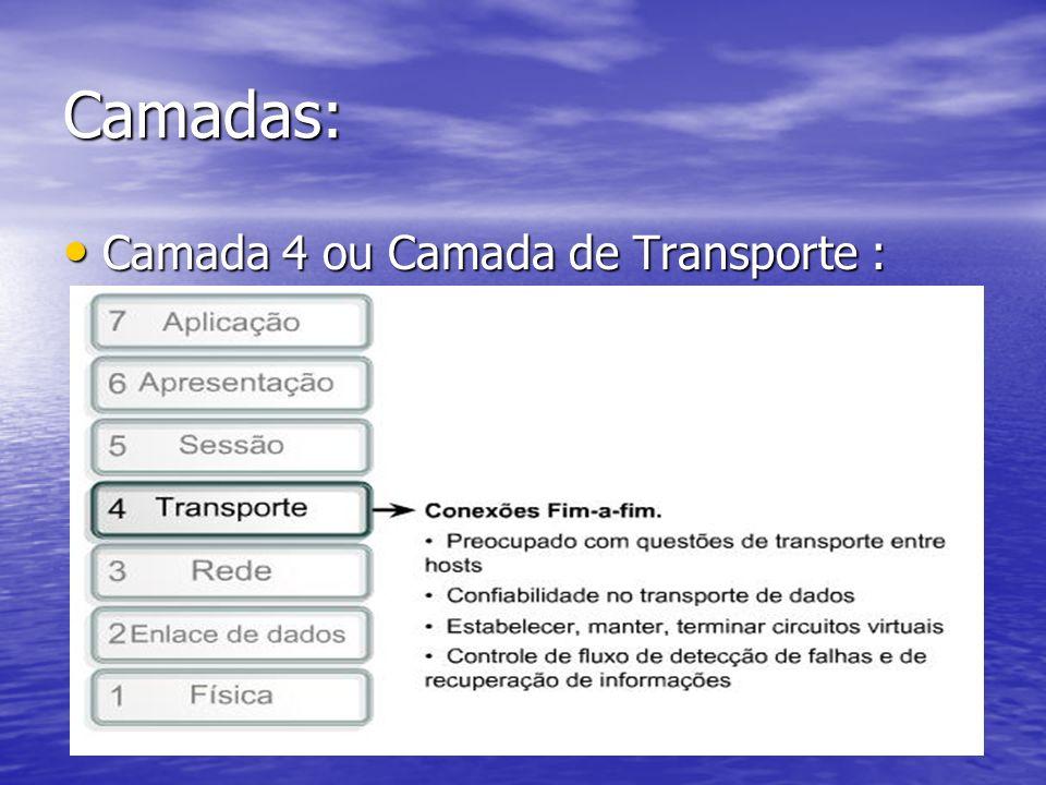 Camadas: Camada 4 ou Camada de Transporte : Camada 4 ou Camada de Transporte :