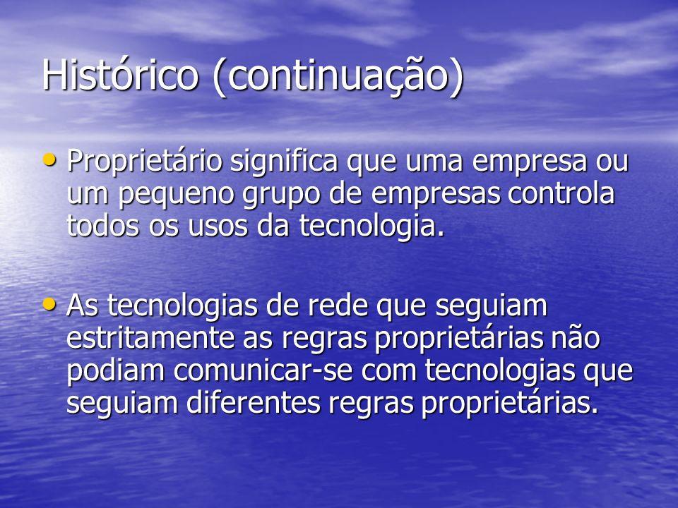 Histórico (continuação) Proprietário significa que uma empresa ou um pequeno grupo de empresas controla todos os usos da tecnologia. Proprietário sign