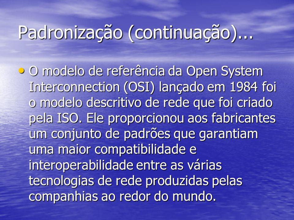 Padronização (continuação)... O modelo de referência da Open System Interconnection (OSI) lançado em 1984 foi o modelo descritivo de rede que foi cria