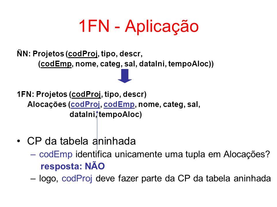 1FN – Outro Exemplo ÑN: Departamentos (codD, nome, (CPF, nome, salário)) 1FN: Departamentos (codD, nome) Empregados(codD, CPF, nome, salário) CP da tabela aninhada (Empregados) –CPF identifica unicamente uma tupla em Empregados.