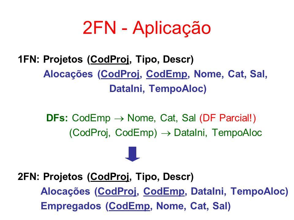 DF Transitiva ou Indireta Se um atributo não-chave A x possui DF total da CP de uma tabela T e também possui DF total de um ou mais atributos não-chave de T, então diz-se que A x possui DF transitiva ou indireta da CP de T