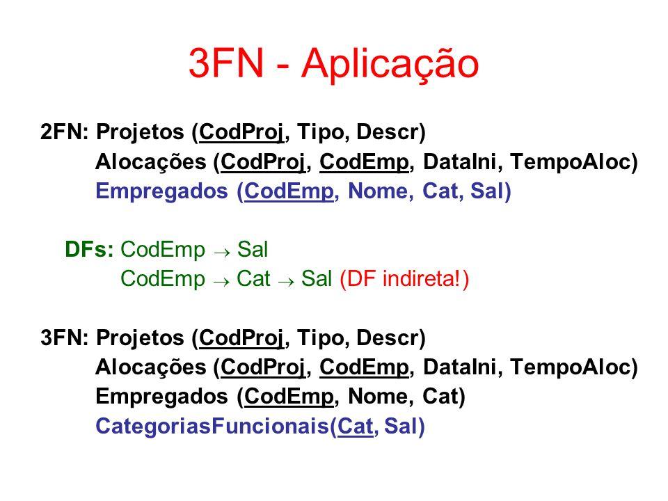 Normalização - Questões Análise de chaves primárias (CPs) –tabelas podem ou não ter atributos que garantam identificação única de suas tuplas ou ter uma CP muito extensa sugestão: definir uma CP ÑN: Projetos (CodProj, Tipo, Descr, (Nome, Cat, Sal, DataIni, TempoAloc)) ÑN: Projetos (CodProj, Tipo, Descr, (CodEmp, Nome, Cat, Sal, DataIni, TempoAloc)