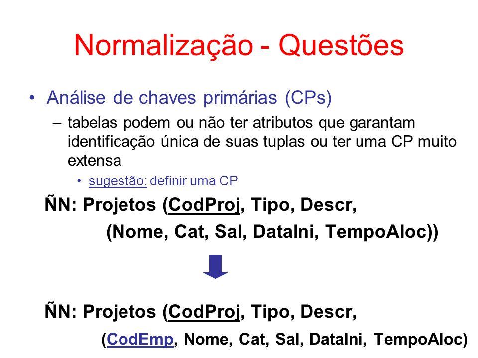 Normalização - Questões Dados irrelevantes –tabelas podem ter atributos que não precisam ser mantidos necessariamente no BD sugestão: eliminar estes atributos ÑN: Projetos (CodProj, Tipo, Descr, NroEmps, DataRel, (CodEmp, Nome, Cat, Sal, DataIni, TempoAloc)) ÑN: Projetos (CodProj, Tipo, Descr, (CodEmp, Nome, Cat, Sal, DataIni, TempoAloc)