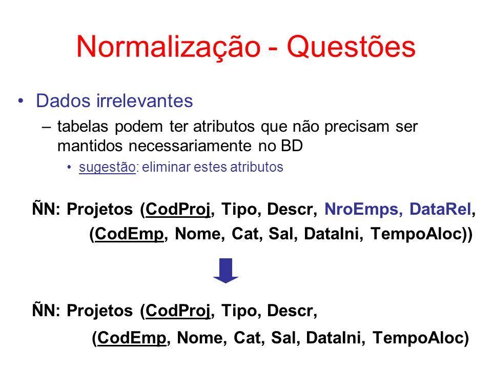 Normalização - Questões Dados relevantes, porém implícitos –sugestão: definir tais dados ÑN: Aprovação (CodCurso, Nome, (CodCand, Nome, Endereço)) ÑN: Aprovação (CodCurso, Nome, (CodCand, Nome, Endereço, OrdemClass)) a ordem determina a classificação do candidato
