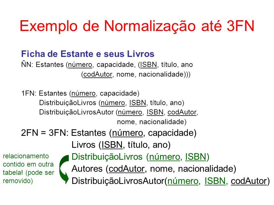 Exemplo de DF Multivalorada númeroISBNcodAutor E1L1A1 E1L1A2 E1L2A7 E1L2A8 E1L2A9 E2L1A1 E2L1A2 E3L2A7 E3L2A8 E3L2A9 ISBN = L1 codAutor = {A1, A2} ISBN = L2 codAutor = {A7, A8, A9} Redundância de dados para representar as associações multivaloradas.