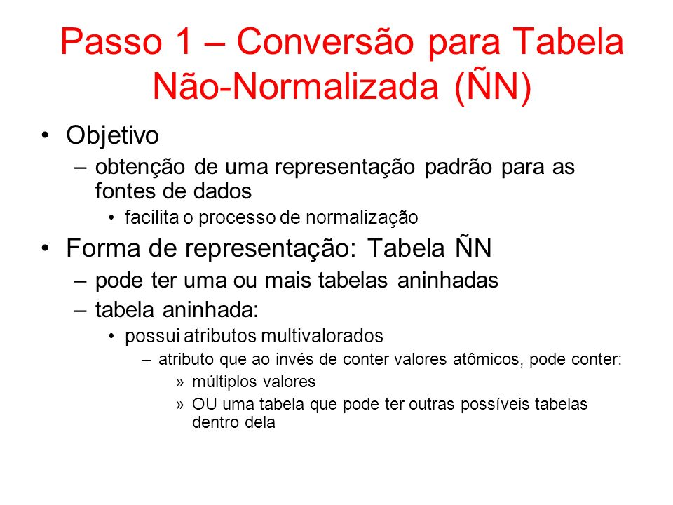 Exemplo de Tabela ÑN