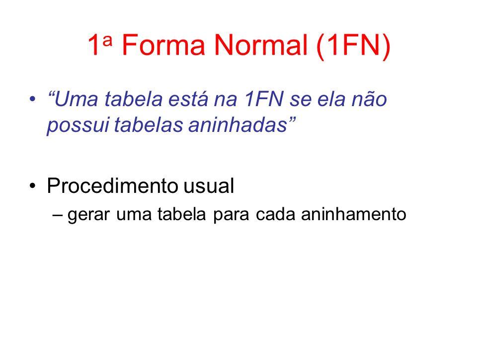 1FN - Aplicação ÑN: Projetos (codProj, tipo, descr, (codEmp, nome, categ, sal, dataIni, tempoAloc)) 1FN: Projetos (codProj, tipo, descr) Alocações (codProj, codEmp, nome, categ, sal, dataIni, tempoAloc) CP da tabela externa migra para a tabela aninhada Qual a CP da tabela aninhada?