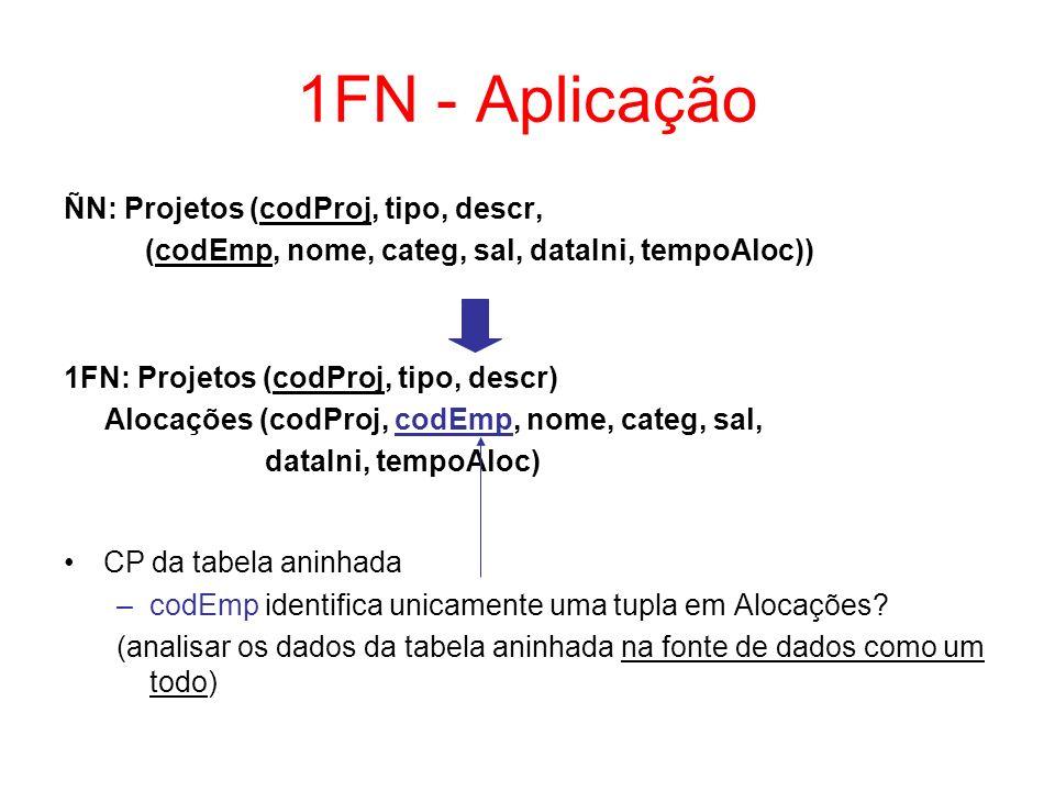 1FN - Aplicação ÑN: Projetos (codProj, tipo, descr, (codEmp, nome, categ, sal, dataIni, tempoAloc)) 1FN: Projetos (codProj, tipo, descr) Alocações (codProj, codEmp, nome, categ, sal, dataIni, tempoAloc) CP da tabela aninhada –codEmp identifica unicamente uma tupla em Alocações.