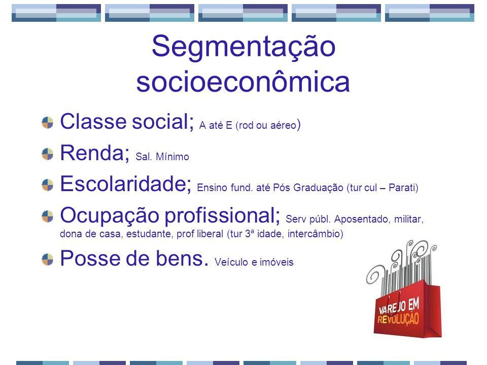 Segmentação socioeconômica Classe social; A até E (rod ou aéreo ) Renda; Sal. Mínimo Escolaridade; Ensino fund. até Pós Graduação (tur cul – Parati) O