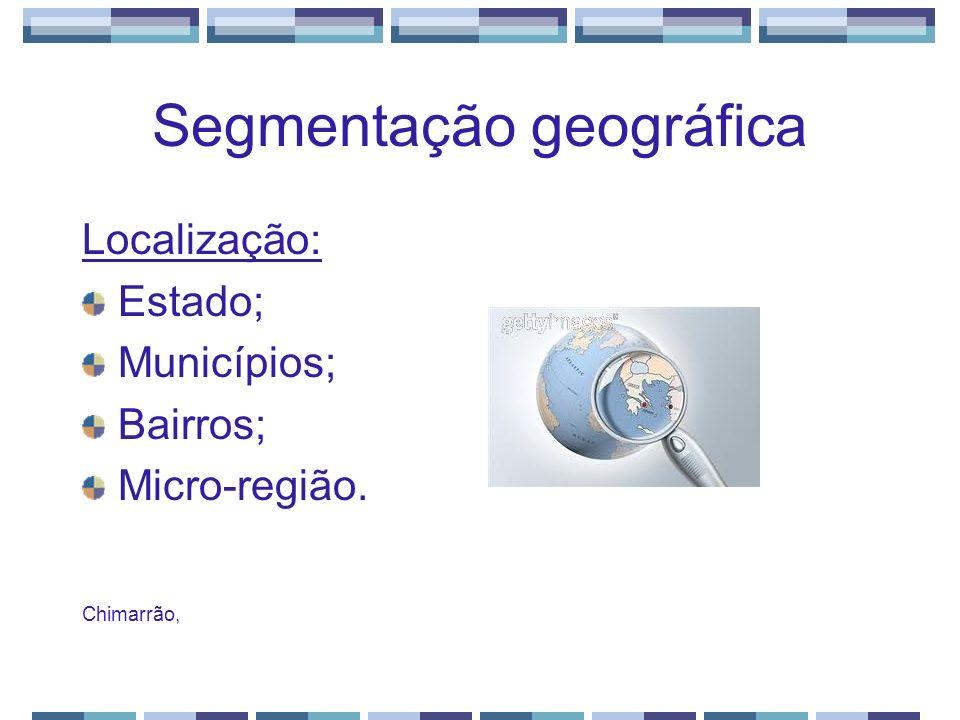 Segmentação geográfica Localização: Estado; Municípios; Bairros; Micro-região. Chimarrão,