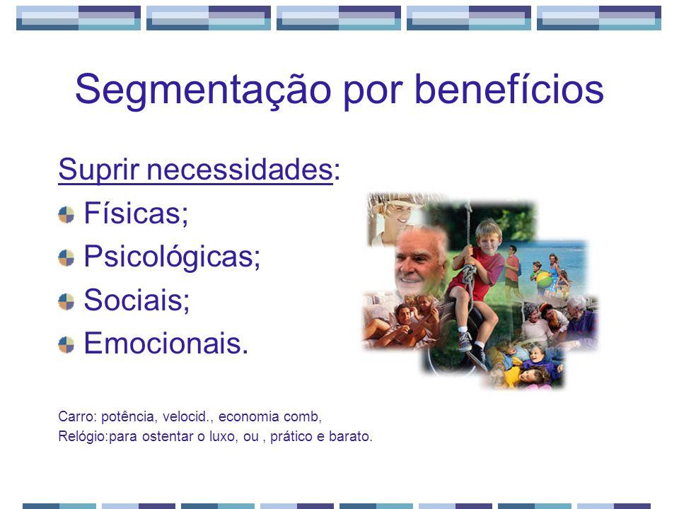 Segmentação por benefícios Suprir necessidades: Físicas; Psicológicas; Sociais; Emocionais. Carro: potência, velocid., economia comb, Relógio:para ost