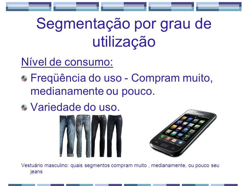Segmentação por grau de utilização Nível de consumo: Freqüência do uso - Compram muito, medianamente ou pouco. Variedade do uso. Vestuário masculino: