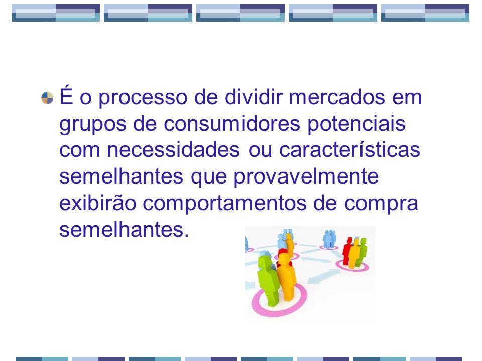 É o processo de dividir mercados em grupos de consumidores potenciais com necessidades ou características semelhantes que provavelmente exibirão compo