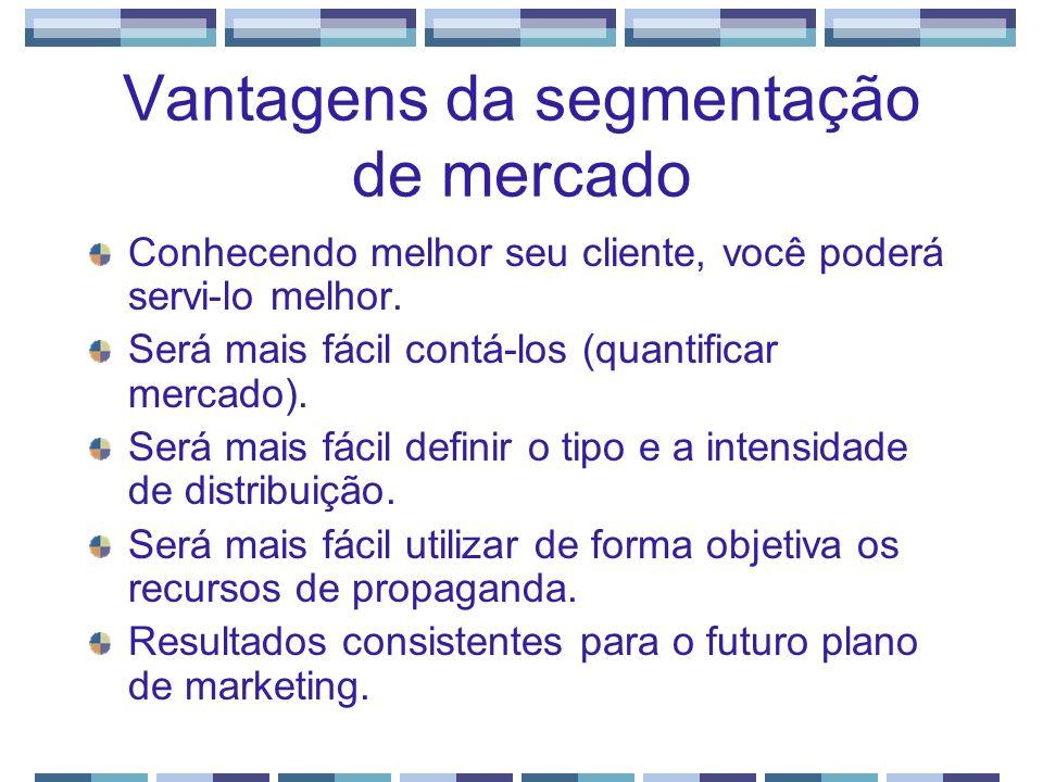 Vantagens da segmentação de mercado Conhecendo melhor seu cliente, você poderá servi-lo melhor. Será mais fácil contá-los (quantificar mercado). Será