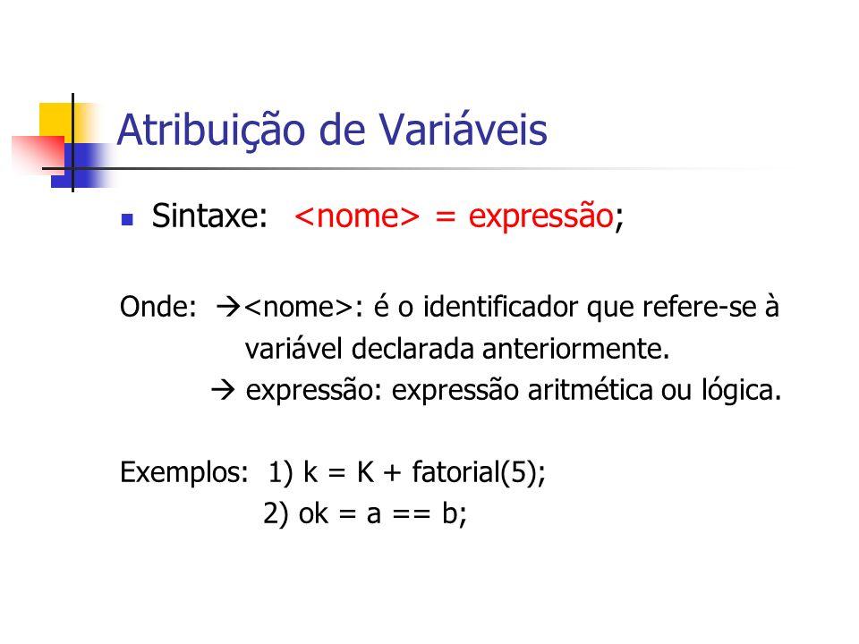 Atribuição de Variáveis Sintaxe: = expressão; Onde: : é o identificador que refere-se à variável declarada anteriormente. expressão: expressão aritmét