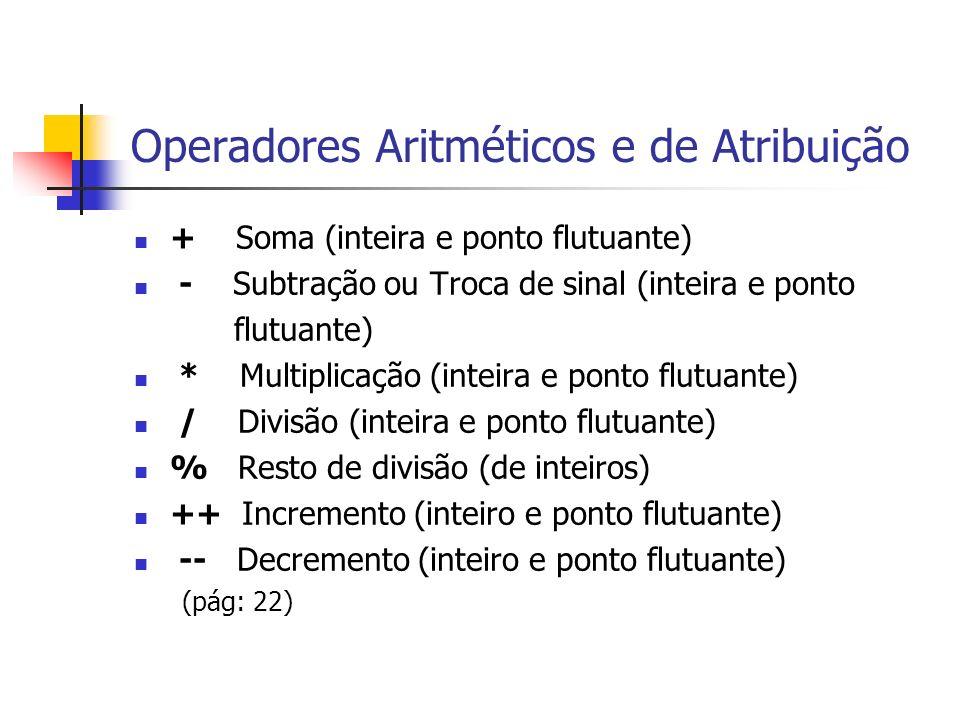 Operadores Aritméticos e de Atribuição + Soma (inteira e ponto flutuante) - Subtração ou Troca de sinal (inteira e ponto flutuante) * Multiplicação (i