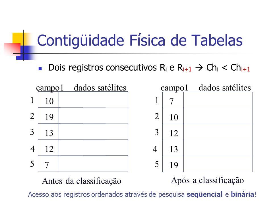 Contigüidade Física de Tabelas Dois registros consecutivos R i e R i+1 Ch i < Ch i+1 10 19 13 12 7 1 2 3 4 5 Antes da classificação Acesso aos registr